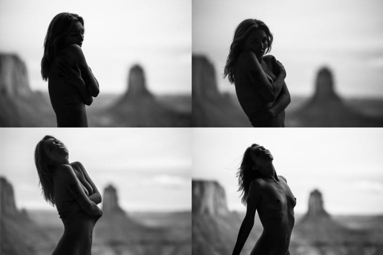 A series of black and white nude shots of a woman in the desert