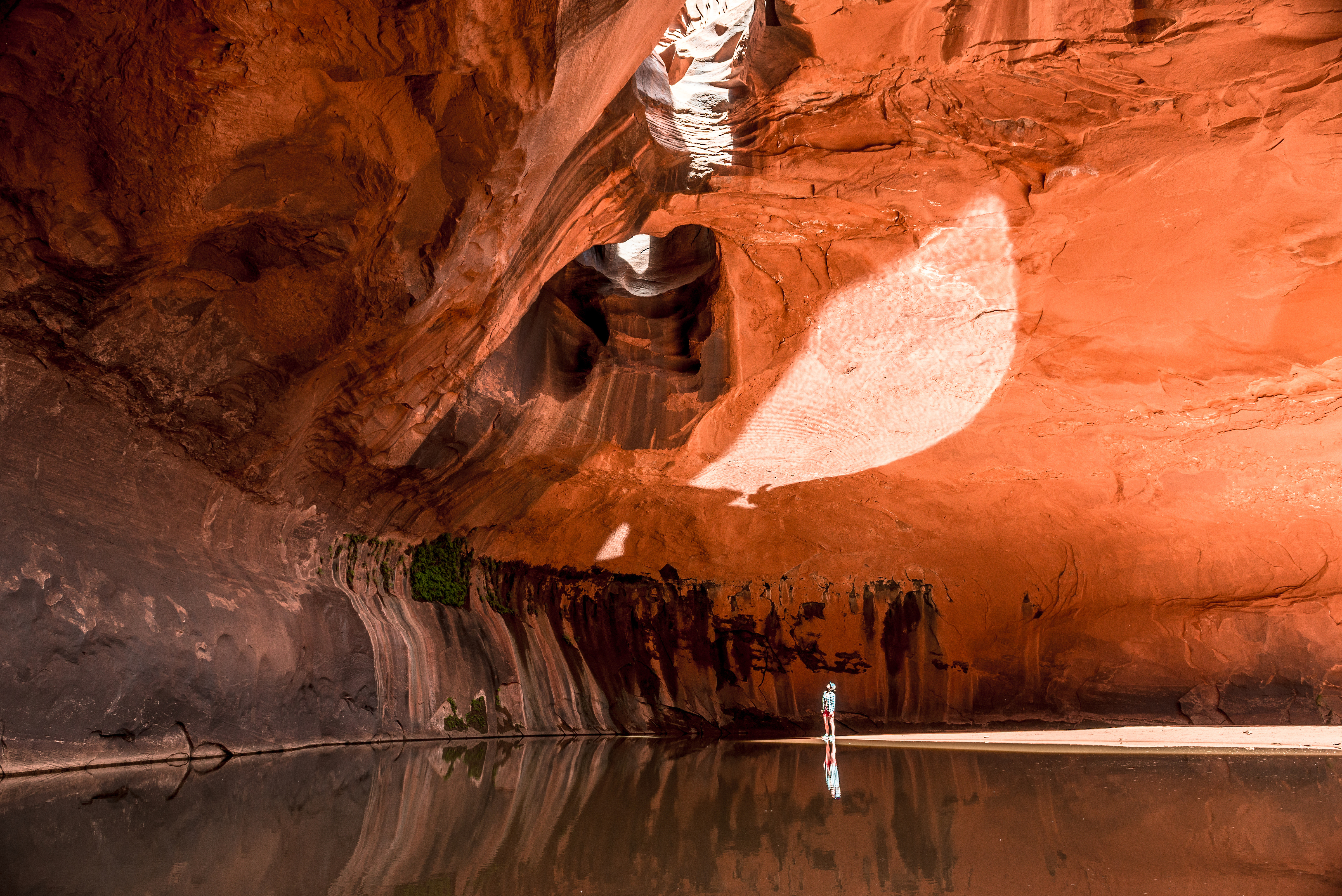 A woman looks up at the Golden Cathedral in Neon Canyon, Escalante, Utah.